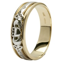 Image for Two Tone Gold Claddagh Wedding Ring