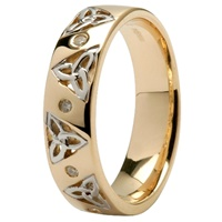 Image for 14kt Yellow Gold Trinity and Diamond Wedding Ring