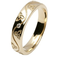 Image for 14kt Yellow Gold Celtic Recessed Pressure Set Diamond Wedding Ring