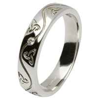 Image for 14kt White Gold Celtic Recessed Pressure Set Diamond Wedding Ring
