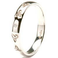 Image for 14K White Gold Celtic Embossed Pressure Set Diamond Wedding Ring