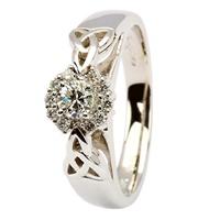 Image for 14K White Gold Diamond HaloTrinity Knot Ring