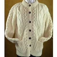 Image for Hand Knitted Irish Cardigan Wool Sweater Size 40