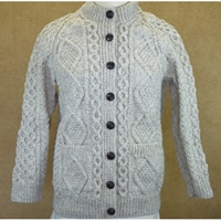 Image for Hand Knitted Irish Cardigan Wool Sweater-Oatmeal