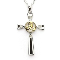 Image for Sterling Silver Celtic Trinity Knot Cross with Diamonds