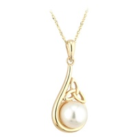 Image for 14K Gold Pearl Trinity Knot Pendant