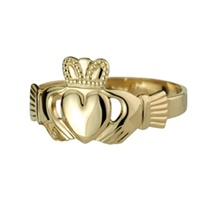 Image for Ladies 10K Puffed Heart Claddagh Ring