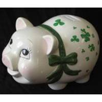 "Image for 10"" Musical Irish Shamrock Piggy Bank"