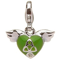 Image for Little Miss Trinity Diamond Heart Charm, Green