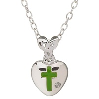 Image for Little Miss Diamond Trinity Knot Heart Pendant, Green