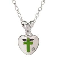 Image for Little Miss Diamond Trinity Knot Heart Pendant, Green