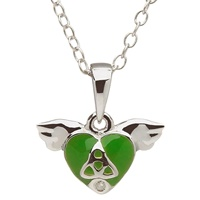 Image for Little Miss Trinity Diamond Heart Pendant, Green