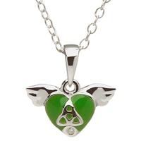Image for Little Miss Trinity Diamond Heart Pendant, Green