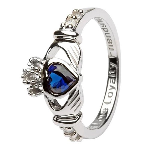 Image for Silver Claddagh Birthstone Rings, September