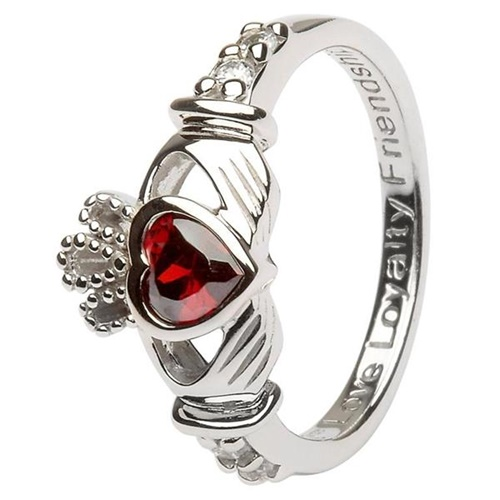 Image for Silver Claddagh Birthstone Rings, January