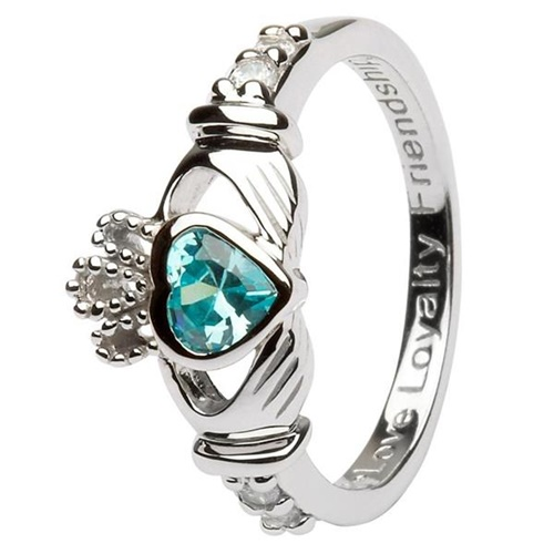 Image for Silver Claddagh Birthstone Rings, March