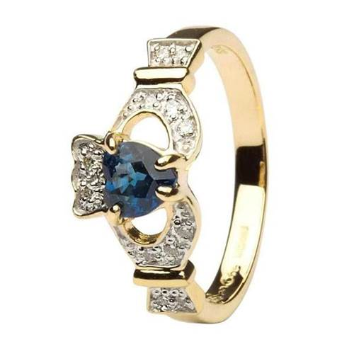 Image for Ladies 14K Yellow Gold Claddagh With Sapphire and Diamond