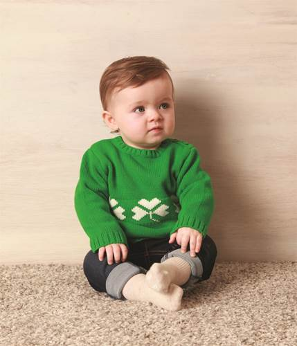 Image for Green Cotton Pullover with White Shamrocks