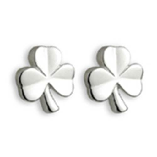 Image for Solvar Sterling Silver Kids Shamrock Stud Earrings