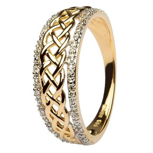 Image for Shanore 14K Yellow Gold Ladies Celtic Knot Diamond Ring, Size 7