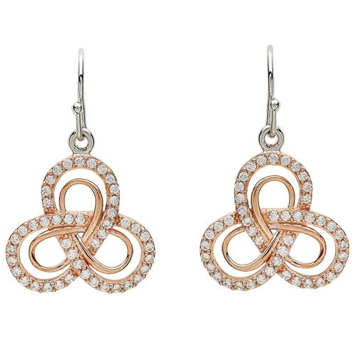 Image for Shanore Sterling Silver CZ Rose Gold Plate Trinity Earrings
