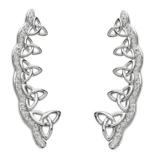 Image for Shanore Sterling Silver Swarovski Trinity Climber Earrings