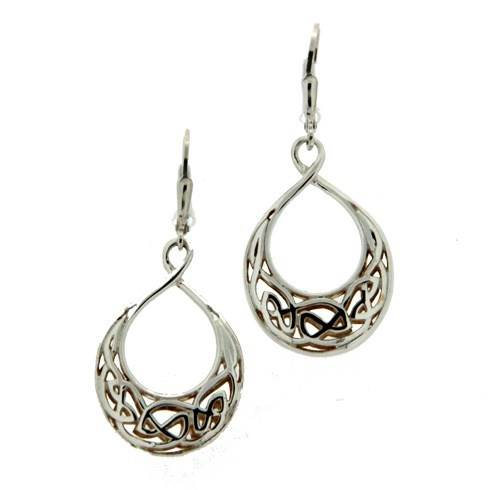 Image for Keith Jack Celtic Window To The Soul Earrings Sterling Silver and 24K Gold Tear Drop Earrings