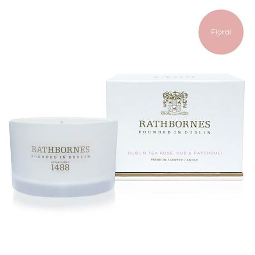Image for Rathbornes 1488 Dublin Tea Rose, Oud and Patchouli Scented Travel Candle