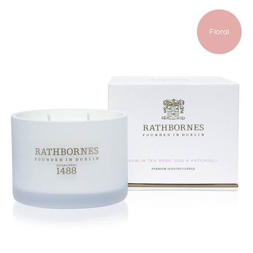 Image for Rathbornes 1488 Dublin Tea Rose, Oud and Patchouli Scented Classic Candle