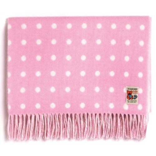 Image for Baby Lambswool Pink Spot Blanket