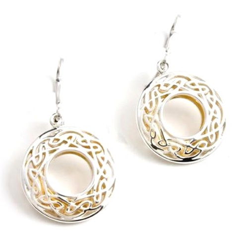 Image for Keith Jack Celtic Window To The Soul Earrings Sterling Silver and 24K Gold