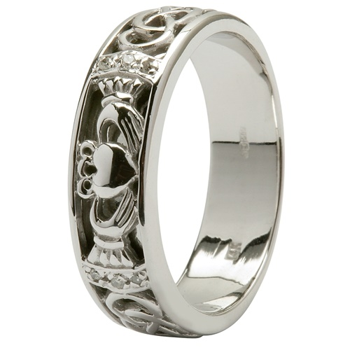 Image for 14kt White Gold Claddagh Wedding Ring
