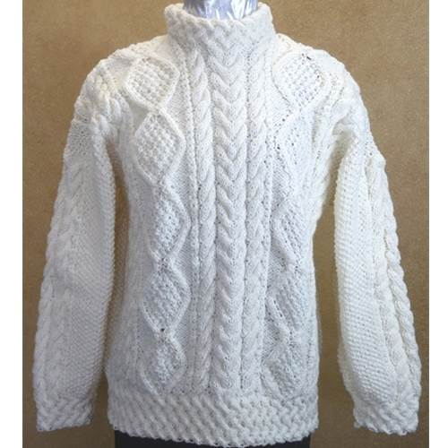 Image for Hand Knitted Irish Celtic Weave Wool Pull Over Sweater