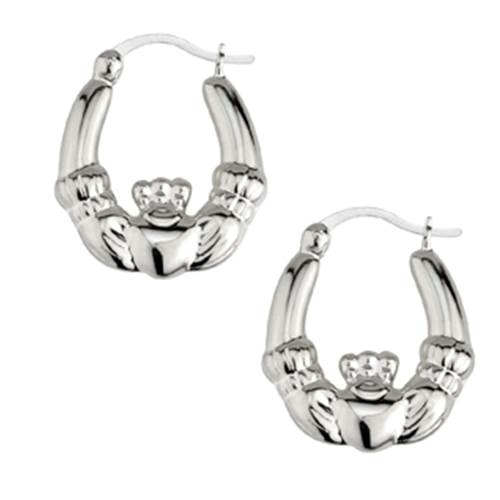 Image for Solvar Sterling Silver Claddagh Creole Earrings, Medium